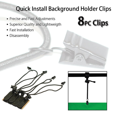 4 Piece Backdrop Background Muslin Multi-Functional Holder Velcro Strap Clip for Photo Video Support Stands by Loadstone Studio