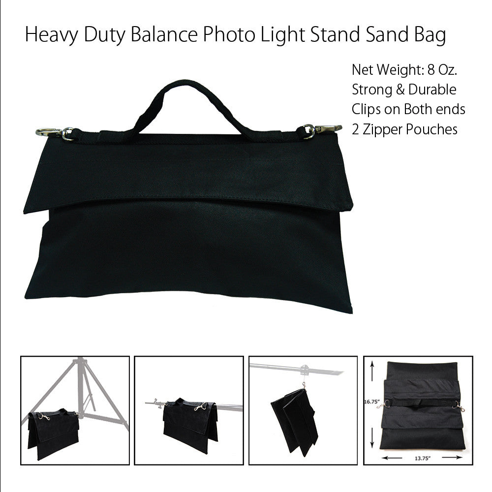 Photo Video Studio Light Boom Stand Saddlebag Sandbag with Zipper and Velcro