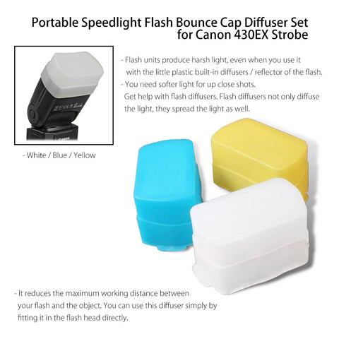 JJC Portable White/Blue/Yellow Flash Bounce Cap Diffusers for Canon Speedlite Strobe 430EX, 430EX II by Loadstone Studio