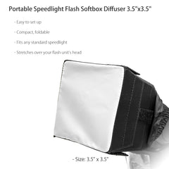 "3.5""x 3.5"" Foldable and Portable Design Universal Speed Light Softbox Diffuser for All Camera External Flash by Loadstone Studio"