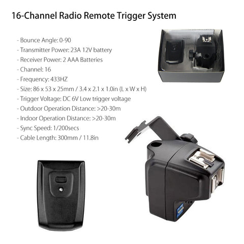 16-Channel Radio Remote Trigger System Sync Transmitter with Dual Hot Shoe Receiver Set for DSLR