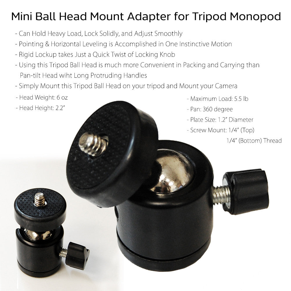 "Mini Standard Ball Head with Lock and 1/4""-20 thread Camera Mount for Photo Video Lighting and Accessory"