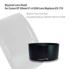 Dedicated DSLR Lens Hood Custom Designed Specifically for Canon EF 50mm f/1.4 USM Lens - Replaces ES-71II by Loadstone Studio