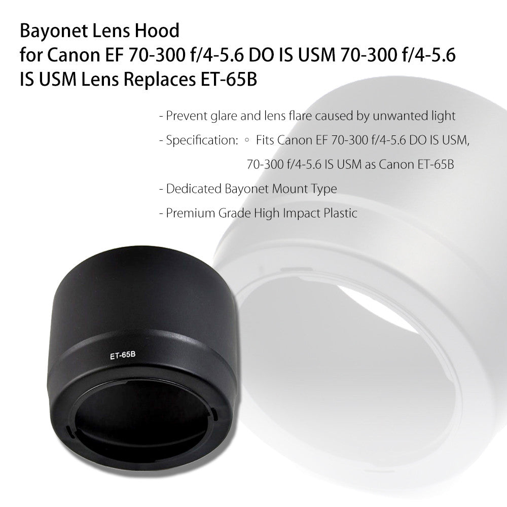 Dedicated DSLR Lens Hood for Canon EF 70-300 f/4-5.6 DO IS USM 70-300 f/4-5.6 IS USM Lens - Replaces ET-65B by Loadstone Studio