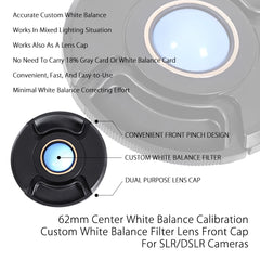 62mm Center Pinch White Balance Calibration Lens Cap Custom Filter Front Protection Cover for SLR DSLR Cameras by Loadstone Studio