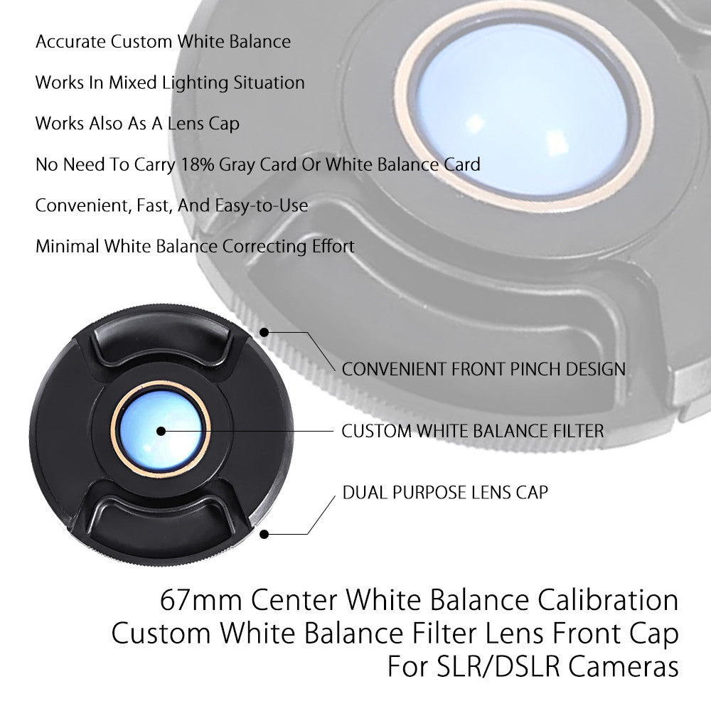 67mm Center Pinch White Balance Calibration Lens Cap Custom Filter Front Protection Cover for SLR DSLR Cameras by Loadstone Studio