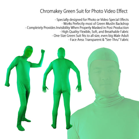 Full Green man Suit, Chromakey Green One-Size Soft Flexible Material for Special Effects Production SFX by Loadstone Studio