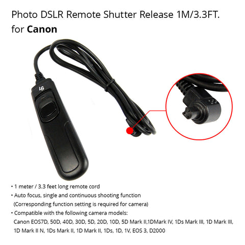 5 Meter Shutter Release Remote Switch Control Cable for Canon 50D, 40D, 30D, 20D, 10D, 5D