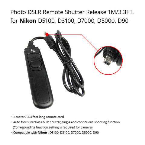 DSLR Camera shutter Release Remote Switch Control Cable N3 for Nikon D90 D5000 Easy to Use Tethered