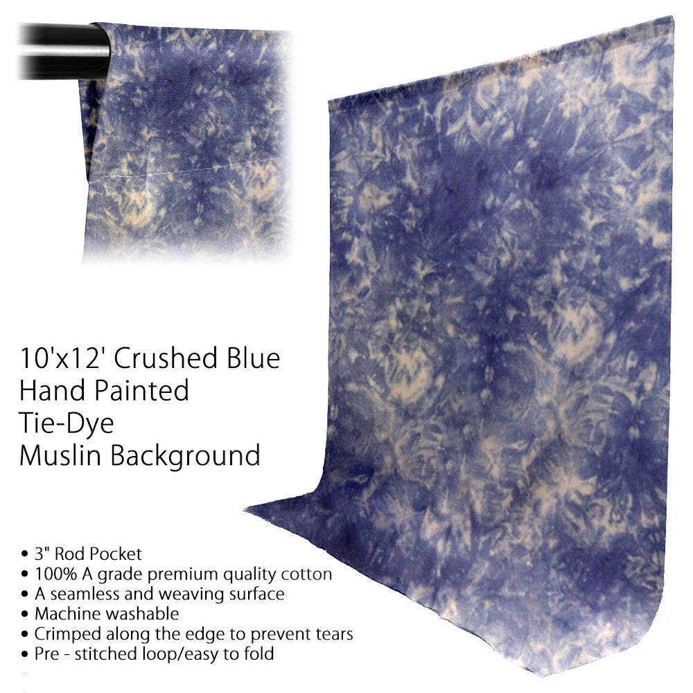 10' x 12' Ft. Chromakey Tie Dye Crushed Blue Hand Painted Seamless Muslin for Photography Background Lighting by Loadstone Studio