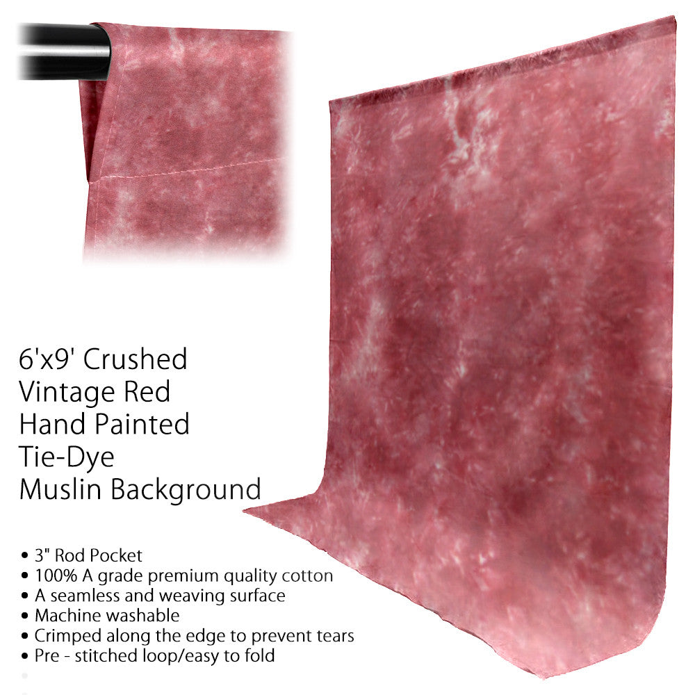 6' x 9' Ft. Chromakey Tie Dye Crushed Red Hand Painted Seamless Muslin for Photography Background Lighting by Loadstone Studio