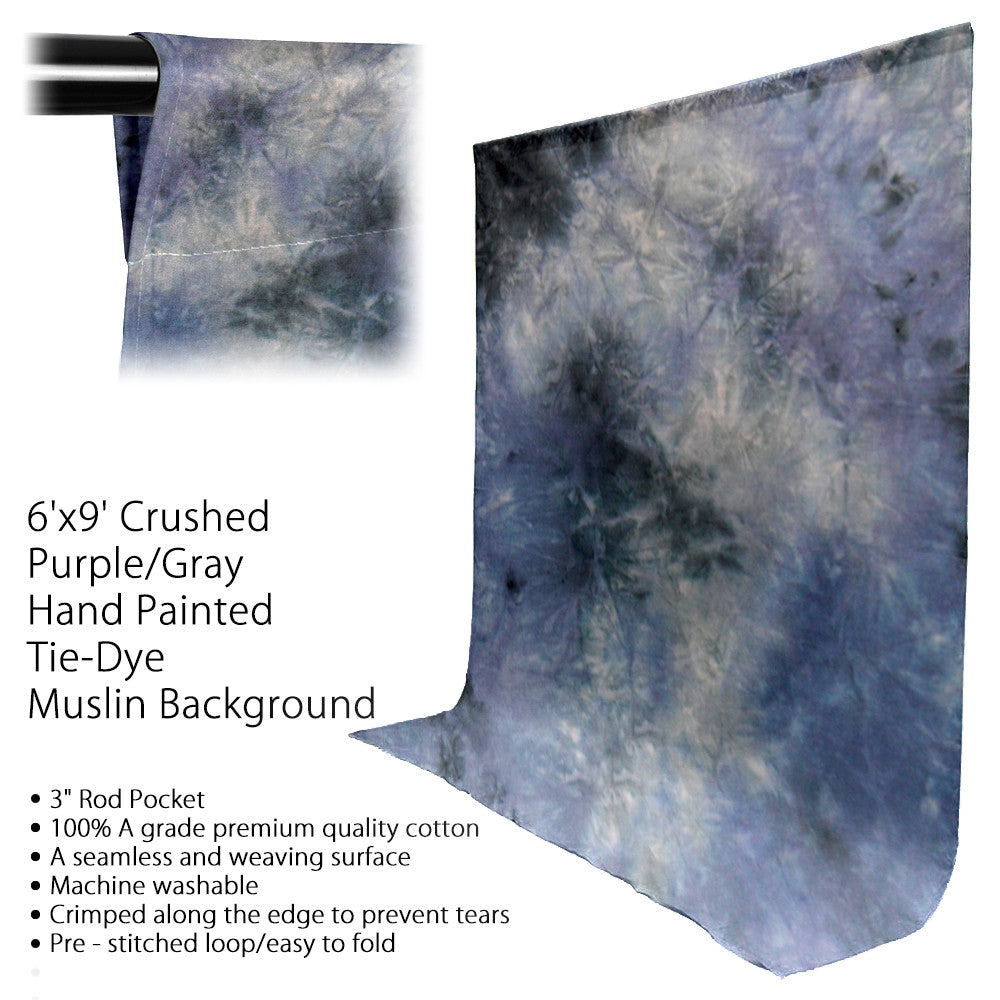 6' x 9' Ft. Chromakey Tie Dye Crushed Purple Grey Hand Painted Muslin for Photography Background Lighting by Loadstone Studio