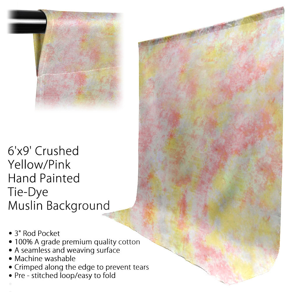 "6 x 9 ft Tie Dye Seamless Premium Hand Dyed Muslin Photo Backdrop for Portraits with 3"" Rod Pocket by Loadstone Studio"