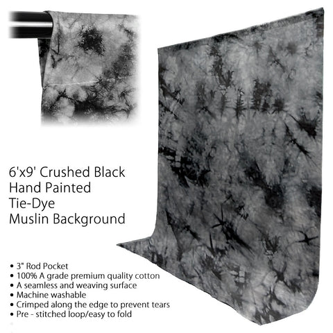6 x 9' ft. Tie Dye Grey Crushed Design Seamless Muslin Backdrop for Photography Background Lighting by Loadstone Studio