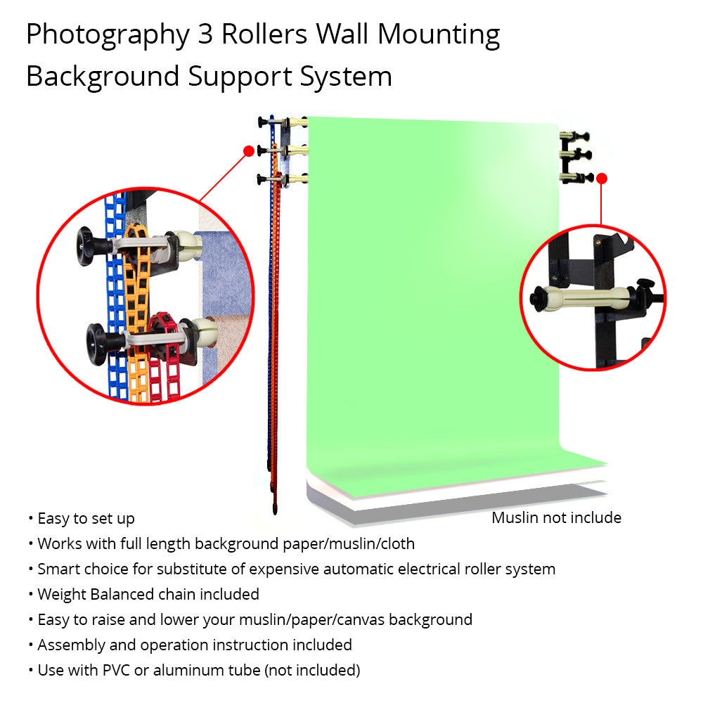 Manual Backdrop Support System with 3-Roller Wall Mount for Photography Background Control by Loadstone Studio