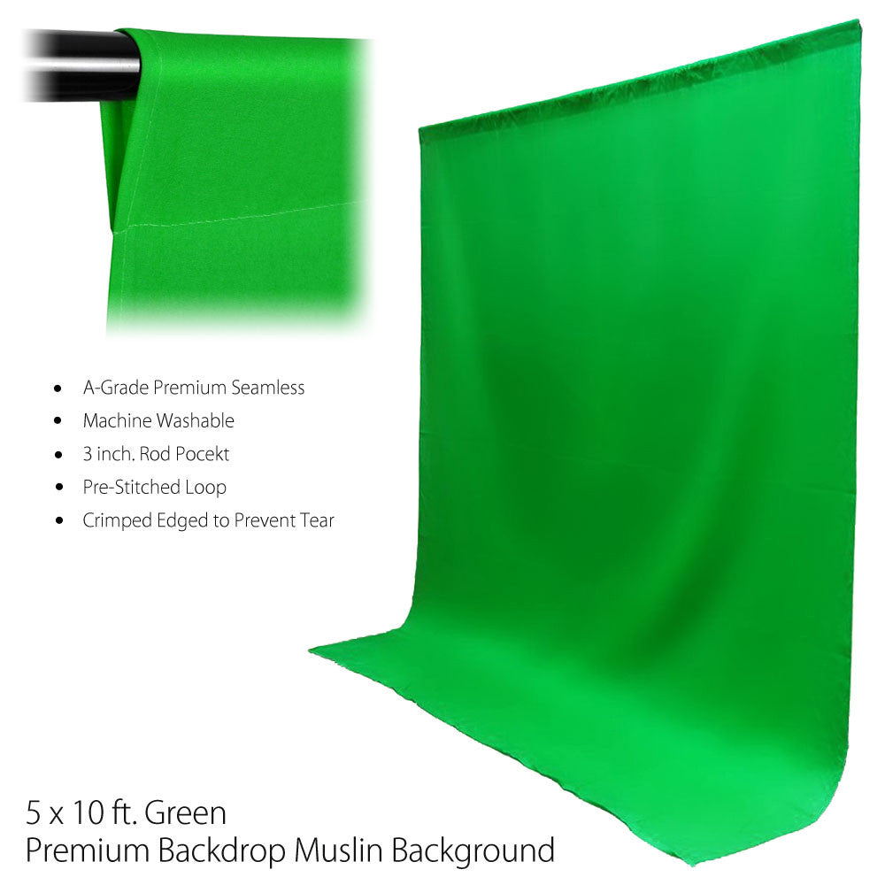 5'x10' Green Chromakey Backdrop Muslin Complete Kit Seamless Background and Heavy Duty Support Stand by Loadstone Studio
