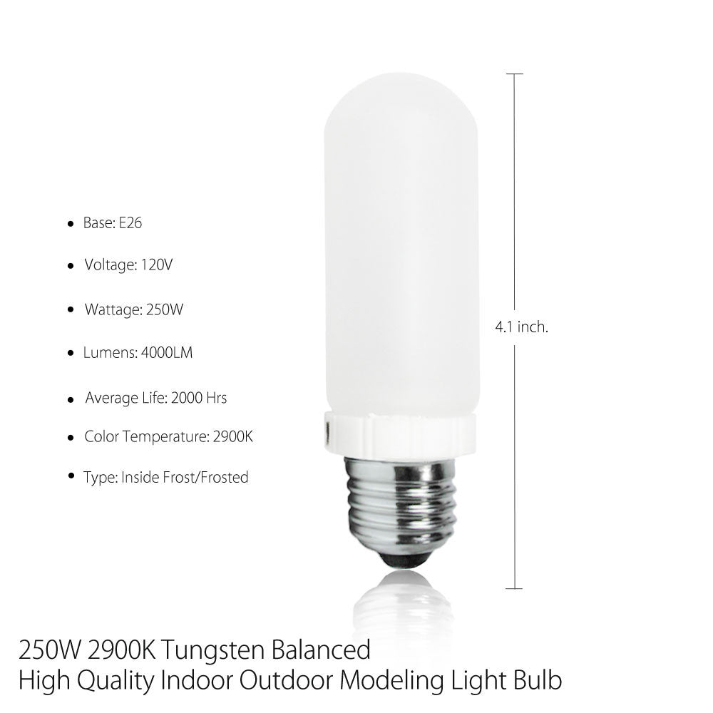 250W 2900K Tungsten Halogen Model Light Bulb in Frost E26/E27 Edison Base Socket Flash Strobe 110V by Loadstone Studio