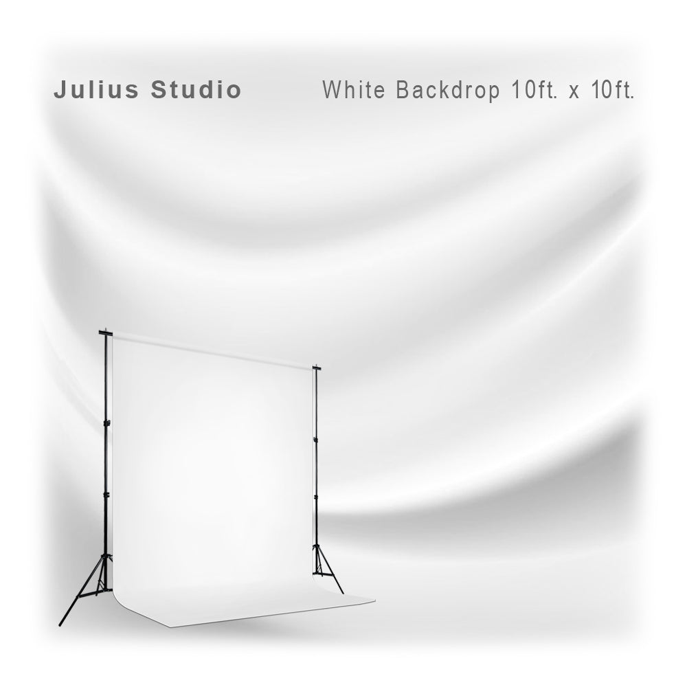 10 ft x 10 ft white chromakey photo studio fabric backdrop
