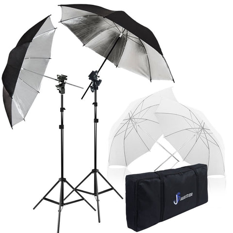 Umbrella Reflector Photo Video Kit, White, Silver, Umbrella Soft Box Diffuser with Light Stand Tripod & Flash Bracket Shoe Mount Adapter, Carry Bag, WMLS4259