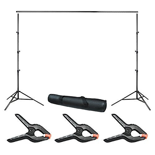 10 ft. Wide Adjustable Background Muslin Support Structure System Stand and Cross Bar for Screen Backdrop with 3 Pack of Support Clamp, Stable Thick Pole, Photography Studio, WMLS4254