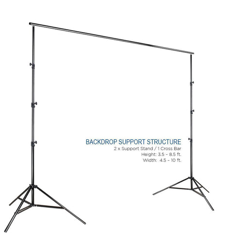 Background Muslin Backdrop Support System with Photo Clamp, White Backdrop Muslin, Photo / Video Studio Kit, WMLS4325