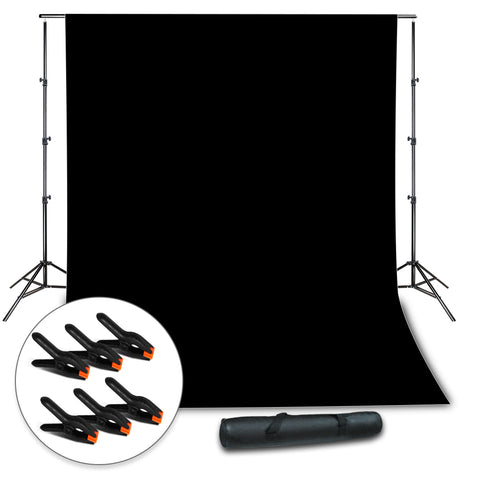 Background Muslin Backdrop Support System with Photo Clamp, Black Backdrop Muslin, Photo / Video Studio Kit, WMLS4317