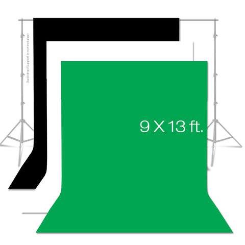Loadstone Studio 9 x 13 ft. Photo Studio Chromakey Background Muslin Backdrop Bundle Kit, Black, White, Green Premium