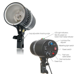 160W Monohead Flash Strobe Light Head with Umbrella Mount Compact and Portable Photography Lighting Black