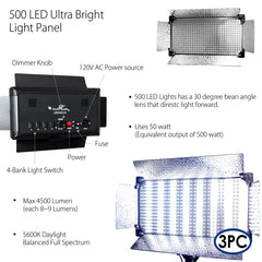 3x 500 LED Dimmable Panel Lighting Kit with Barn Door, Light Stands, and Convenient Travel Case