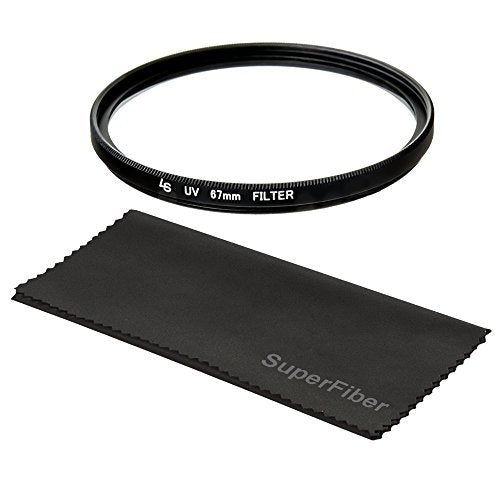 "67mm UV Protection Filter Lens Accessory for Nikon, Canon, Pentax, DSLR Camera Lens Filters, 6"" x 7"" Black SuperFiber Lens Cleaning Cloth Camera Accessory, WMLS3853"