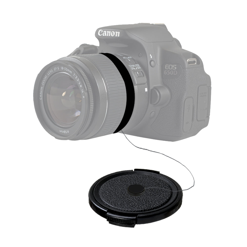 58mm Snap-on Universal Lens Cap Camera Accessory, Lens Cap Holder, Cleaning Wipes, WMLS3915