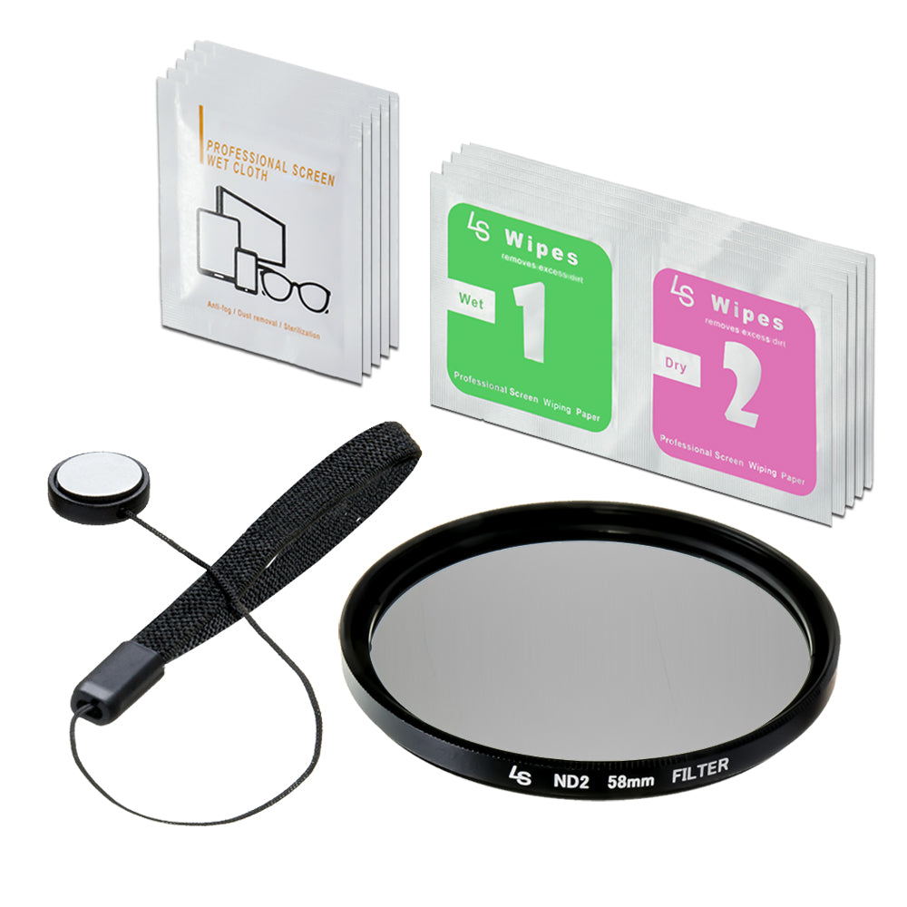 58mm ND2-Neutral Density-Filter Camera Accessory, Lens Cap Holder, Cleaning Wipes, WMLS3917