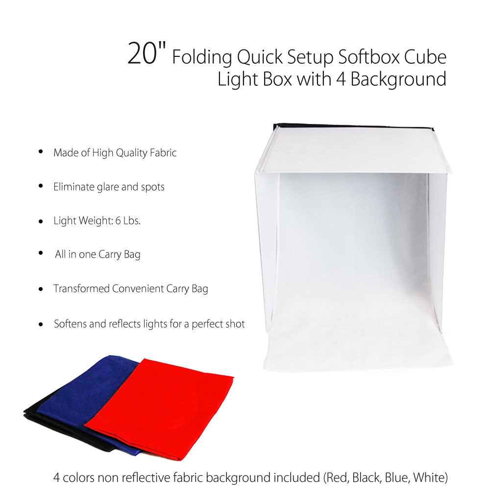 "20"" Folding Photo Tent Cube Lighting Kit with 2x 45W Spiral Bulbs, 2x Tabletop Stands, and 4x Backgrounds"