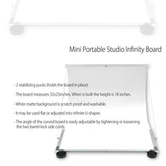 "25""x38"" White Portable Infinity Board Professional Shooting Studio Cove for Product Photography"