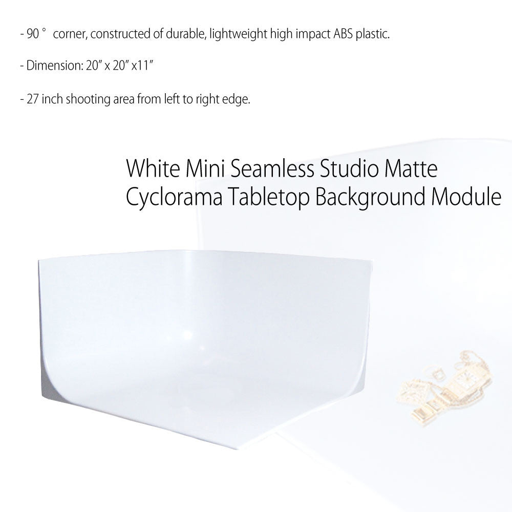 Seamless White Mini Photo Studio Seamless Cyclorama Background Setup for Tabletop Product Photography
