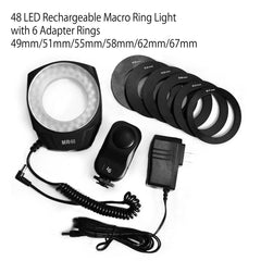 MR48 Macro LED Macro Ring Continuous light for Canon Nikon Olympus Cameras, 7 in 1 Care & Cleaning Kit Camera Cleaning Kit Photo Camera Lens Screen Cleaning