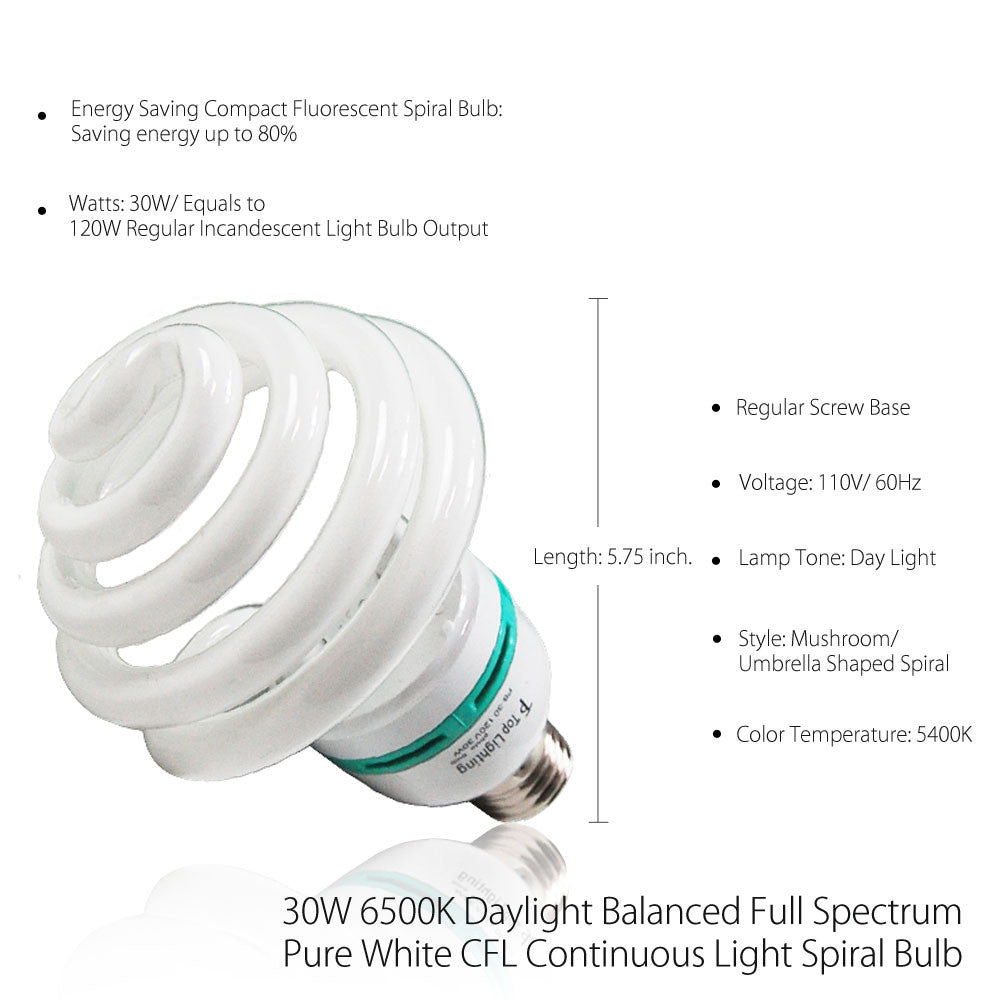 30W CFL Fluorescent Spiral Light Bulb Pure White 6500K Daylight Color Balanced for Photo Video Lighting by Loadstone Studio