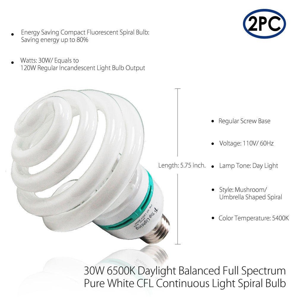 30W CFL Fluorescent Top Spiral Daylight White Bulbs 2-Pack for Professional Photo & Video Lighting Quality by Loadstone Studio