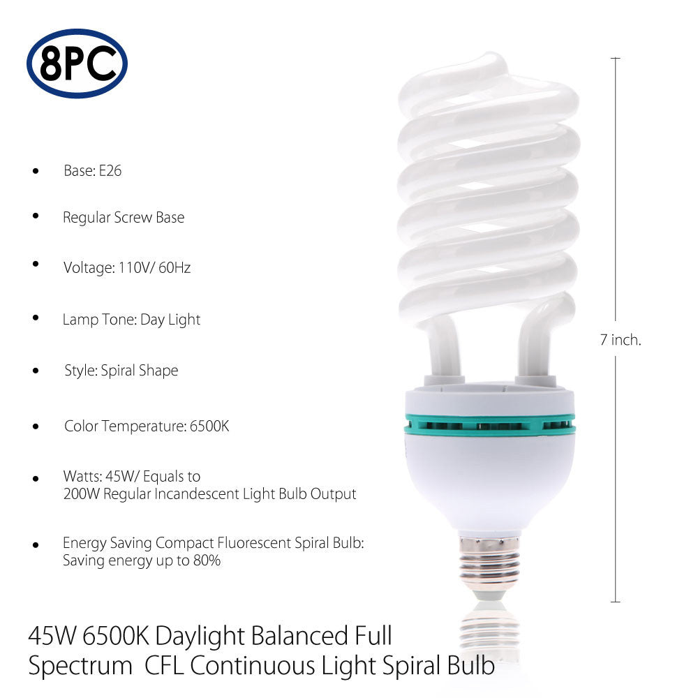 8x 45W Energy Saver Compact Fluorescent 6500K Daylight CFL Continuous Spiral Bulb for Photography Lighting by Loadstone Studio