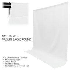 "Photography Photo Video Studio 40"" Umbrella Light Lighting Kit with 10x10 ft. White Muslin Backdrop Background Support System"