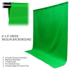 Loadstone Studio 6 ft X 9 ft Green Chromakey Photo Video Photography Studio Fabric Backdrop Background Screen,