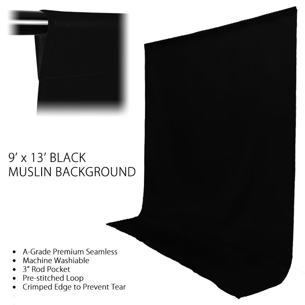Loadstone Studio 9 x 12 ft. Black Fabricated Muslin Backdrop Background Screen for Photo Video Photography Studio,
