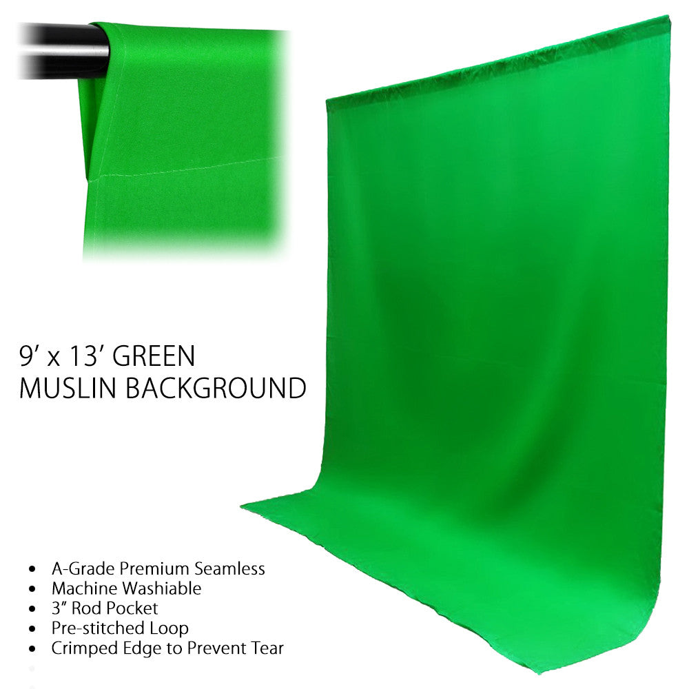Loadstone Studio 9 x 13ft Green Polyester Fabricated Chromakey Backdrop Background Screen for Photo / Video Photography Studio,