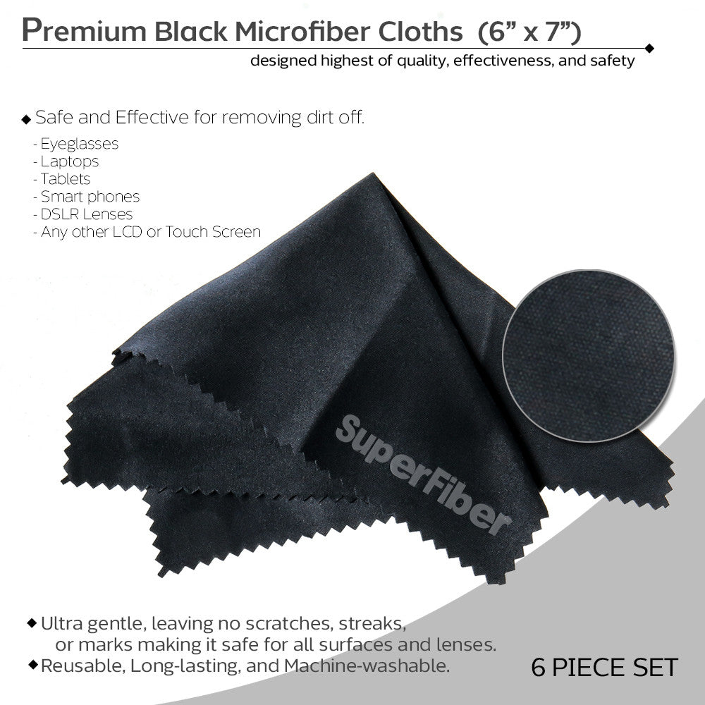 Premium Black Microfiber Cleaning Cloths for Lenses, Tablets, Eyeglasses, & Other Delicate Objects - (6 Pack)