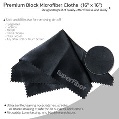 "Photo Camera Lens Cleaning Air Blower with 16"" x 16"" Black SuperFiber Lens Cleaning Cloth"