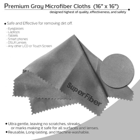 "16""x16"" Gray Microfiber Cleaning Cloth for Screens, Camera Lenses, Eyeglasses, & Other Electronic & Optical Items"