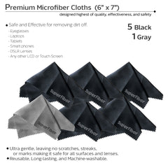 "Photo Camera Lens Cleaning Black Rubber Air Blower with (6 PCS.) 6"" x 7"" SuperFiber Lens Cleaning Cloth"