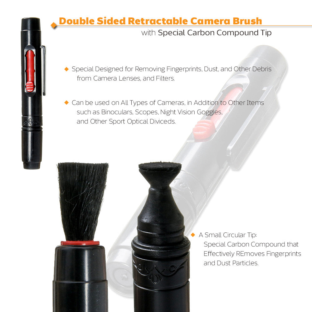 Camera Lens Cleaning Kit, Carbon Compound Brush, 2 in 1 Air Blower + Brush, Cotton Swab, Photo Studio