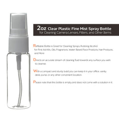 2oz Clear Plastic Fine Mist Spray Bottle for Cleaning Camera Lenses, Eyeglasses, and Other Sensitive Items