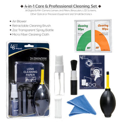 DSLR SLR Maintenance Cleaning Kit Bundle for Camera Lenses, Filters, Caps, and Other Camera Accessories